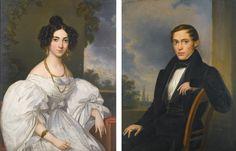 Leopold Fertbauer AUSTRIAN TWO PORTRAITS: A PAIR 1835