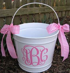 Personalized Easter Bucket, I could do these for my niece and nephews!!! The possibilities are endless!