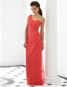 Custom Made robe de Festa elégant une épaule Coral couleur en mousseline de soie longue pas cher de demoiselle d'honneur robes livraison gratuite