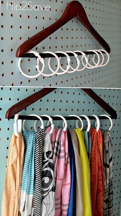 Tidy your closets and cabinets with these handy hooks. Kids Clothes Organization, Scarf Organization, Small Closet Organization, Closet Storage, Bedroom Storage, Organization Ideas, Storage Ideas, Organizing Tips, Bathroom Organization