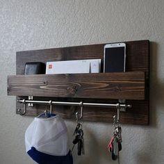 Modern Rustic Entryway Mail Key Organizer by KeoDecor on Etsy