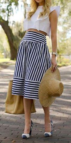 Stripes + big floppy hat