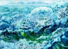 Watercolor on Yupo paper. I call this Chase's Ocean because it represents the love he has for the waves.