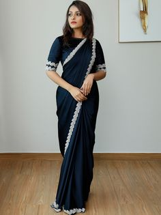 Find the Most Elegant Party Wear Sarees Here! Check out the most elegant designer sarees for party and wedding ocassions by the brand Laksyah. Simple Sarees, Trendy Sarees, Stylish Sarees, Black And White Saree, Black Saree, Saree Trends, Saree Look, Saree Shopping, Bollywood Fashion