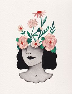 Flower head by Esthera Preda #illustration