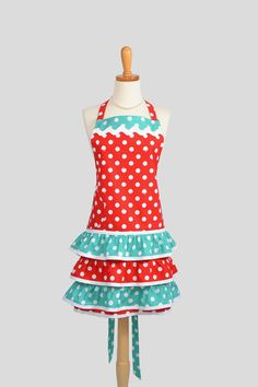 Sassy Ruffled Chef Apron , Flirty Full Handmade Women's Apron in Apple of My Eye Red and Teal Dots Riley Blake Designs Fabrics created by CreativeChics