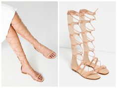 119e16eaaa6 Zara Natural Nude Pink Leather Lace Up Gladiator Sandals Blogger