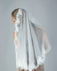 Wedding  Mantilla Veil  French  Lace Edged  by LavenderByJurgita, $268.00