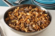 Beef stroganoff in 30 minutes? Yes, please. Strips of sirloin steak simmered with mushrooms and sour cream make this creamy comfort food classic.