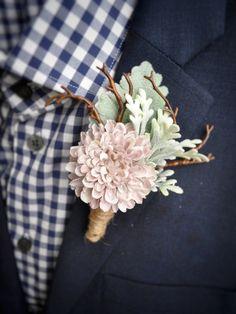 Dusty Rose Boutonniere | Mauve Wedding | Woodland Boutonniere | Rustic Wedding | Lambs Ear | Dusty Miller
