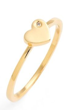 diamond heart midi ring