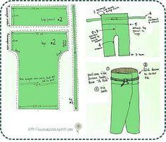 Bildergebnis für how to make thai fisherman pants pattern Pantalon Thai, Diy Pantalon, Sewing Pants, Sewing Clothes, Barbie Clothes, Sewing Patterns Free, Clothing Patterns, Shirt Patterns, Dress Patterns