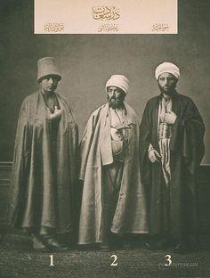 Mevlevi Dervish, Bektashi Dervish and Mullah: Istanbul 1873    Clothing from Istanbul, Ottoman Empire. 1873. 1-Mevlevi dervish 2-Bektashi dervish 3-Mullah (chief judge).