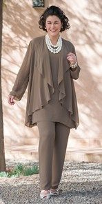 Plus size Veromia truffle chiffon jacket, vest and trouser