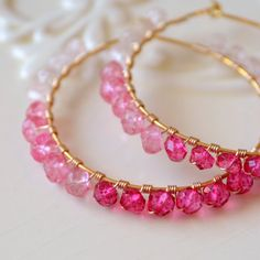 Pink Hoop Earrings, Rose Quartz Pink Topaz Gemstone, Genuine Semiprecious Stone, Shaded Ombre, Wire Wrapped Gold Jewelry, Free Shipping on Etsy, $120.00