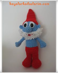 The smurfs şirin father :Dxks Amigurumi Doll, Amigurumi Patterns, Crochet Patterns, Crochet For Kids, Crochet Toys, Smurfs, Needlework, Free Pattern, Dolls