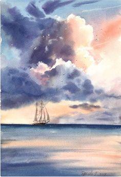 Original Ship Painting by Eugenia Gorbacheva Watercolor Clouds, Watercolor Landscape Paintings, Watercolor Artwork, Cloud Art, Ship Paintings, Aesthetic Painting, Sea Art, Ciel, Watercolor Illustration