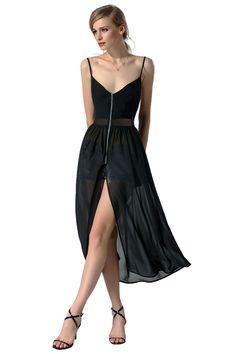 Black Fashion Sexy Women Gauze Patchwork Spaghetti Strap Chiffon Split Long Going Out Dresses