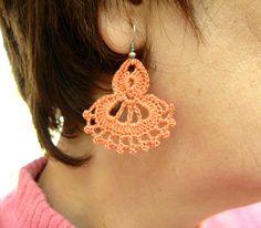 Hand Crocheted   Dangle  Earrings in Salmon by accessoriesbynez, $17.00