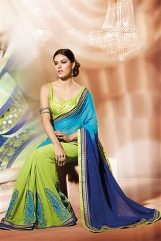 Georgette Light Blue, Green Designer party wear saree