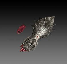 Obsidian Gauntlet 「オブシディアンガントレット」 - The White Dragon Temple Armor Concept, Weapon Concept Art, Fantasy Armor, Fantasy Weapons, Gauntlet Weapon, Magic Armor, Dragon King, Dnd Art, Anime Weapons