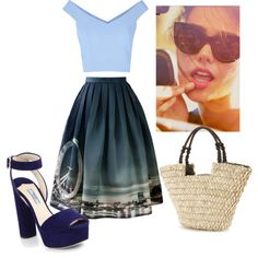 blue by thisismedika on Polyvore featuring polyvore fashion style Chicwish Prada Sun N' Sand