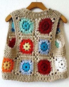Vintage Handmade Crochet Granny Squares Bright Colorful Vest Vintage Handmade Crochet Granny by Point Granny Au Crochet, Cardigan Au Crochet, Crochet Baby Jacket, Gilet Crochet, Poncho Sweater, Baby Poncho, Crochet Beanie, Pull Crochet, Mode Crochet