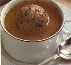 """The liver dumpling soup is a Bavarian Specialty and called in German """"Leberknoedelsuppe"""". Knoedel is a dumpling and Leber is liver, original recipe."""