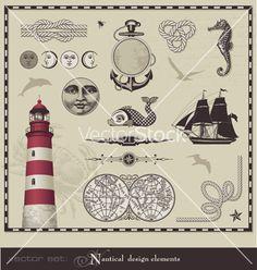 Nautical design elements vector on VectorStock®