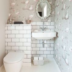 After downstairs toilet ideas and cloakroom ideas? Find your ideal style small cloakroom with these beautiful small cloakroom ideas. Downstairs Cloakroom, Downstairs Toilet, Small Wc Ideas Downstairs Loo, Flamingo Wallpaper, Bathroom Wallpaper, Bad Inspiration, Bathroom Inspiration, Understairs Toilet, Small Toilet Room