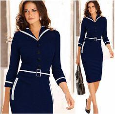 Turn-down Collar 3/4 Sleeves Pencil Patchwork Knee-length Dress