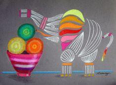 """Apples & Oranges & Elephants, Oh My!"" #artforsale"