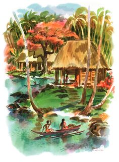 Island Art Store - Samoa - S. Matsonia - Matson Line (Matson Navigation Company) - Island Natives - - Giclée Art Prints & Posters Paul Gauguin, Tahiti, Polynesian Art, Pictures Plus, Print Store, South Pacific, Watercolor Print, Giclee Print, Island