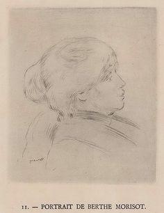 "Pierre Auguste Renoir (French) 1841-1919 Portrait De Berthe Morisot, 1892/1924. Etching, signed in plate lower left, number ""II"" and title in letterpress in lower margin, 11.3 x 9.2cm."