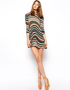 Image 4 ofAX Paris Swing Dress in Wave Stripe Print