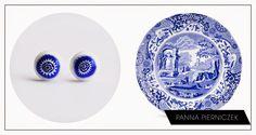 Panna Pierniczek,china, porcelain blue, earrings