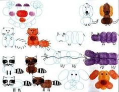 manualidades con huellitas de dedos y formar animalitos - Buscar con Google