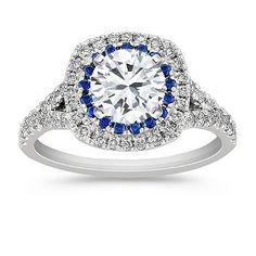 Diamond and Sapphire Engagement Ring with Pavé Setting with Brilliant Round Diamond