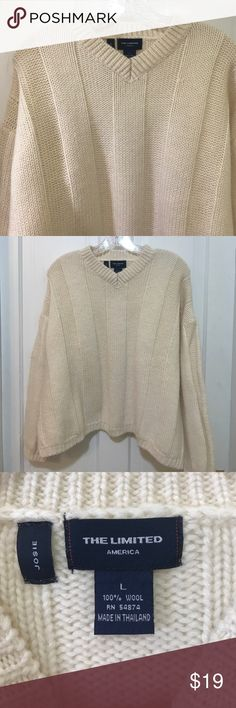 """The Limited Wool Sweater A moment of silence for The Limited .....ok, now onto the sweater. 100% Wool, v-neck, has been worn and in good shape. Size L. Inner sleeve: 16"""" (note it is a dropped sleeve sweater), pit to pit: 26"""", extra wide I think due to the dropped sleeve, shoulder to hem: 22"""" The Limited Sweaters Crew & Scoop Necks"""