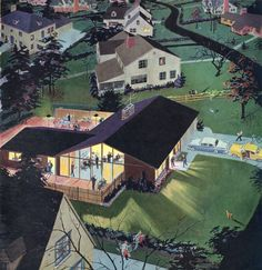 Party in the Suburbs - detail from 1957 Calvert Reserve Whiskey ad. Love this graphic Mid Century Art, Mid Century House, Art Graphique, Googie, Mid Century Modern Design, Retro Futurism, Illustrations, Vintage Ads, Vintage Soul
