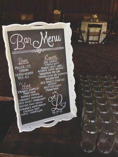 Hand-drawn chalkboard bar menu sign for wedding cocktail hour
