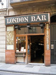 London Bar, Barcelona - a legendary bar which opened in 1910. It was frequented by notable people such as Ernest Hemingway, Pablo Picasso, Joan Miró and Salvador Dalí. As misleading as it's name is, it has a very Spanish feel to it. Enjoy your Tapas!!