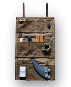 """The Northcore #surf """"Tool Roll"""" Hand Crafted waxed cotton and real leather storage bag for #surfing accessories. A #retro classic designed to improve with age"""