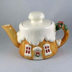 Vintage Lefton China Christmas Cottage Tea Pot from larryscollectibles on Ruby Lane