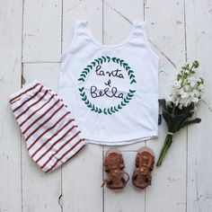 Life is beautiful tank top + stripe joggers - Fin & Vince kids and baby clothing. Humble Hilo baby sandals