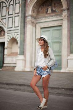 Lovely Pepa    Santa Maria Novella. Summer outfit, fedora, Chanel espadrilles, Valentino glamlock bag in babyblue, Denim shorts.