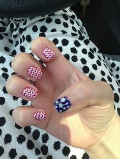 Usa flag nails
