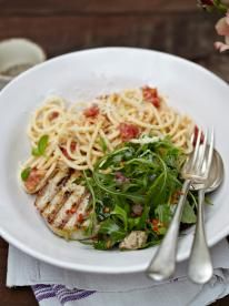 Grilled tuna with tomato spaghetti, perfect for a cosy night in. Keep the other half happy with this hugely popular combo of tuna and pasta – fresh, simple, delicious.