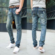 moda masculina jeans 2014 coreano/jeans reta/slim casual masculino calças 100% mercerizado alta qualidade,Jeans