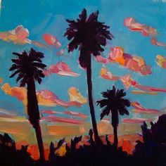Palm Tree Sunset oil on canvas  painting by artist Elizabeth Fraser